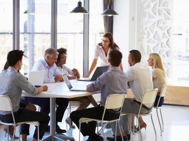 young woman talking to a group around a conference table